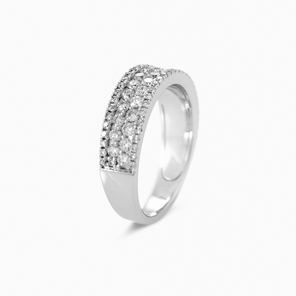 d1864dcb4831 Anillo Oro blanco 1ª LEY- macizo lleva 87 diamantes-brillantes ...